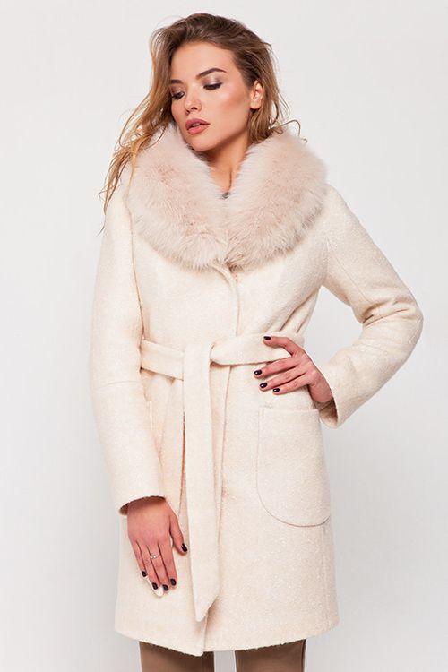 Зимнее пальто с мехом Амели