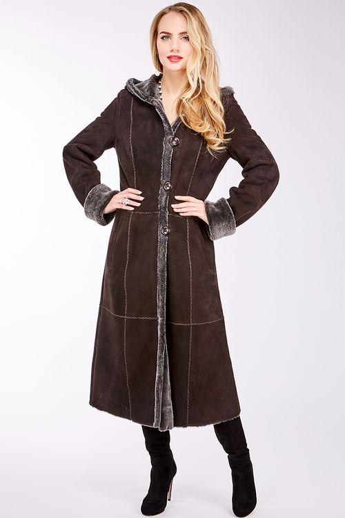 Легкая дубленка-пальто
