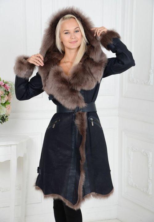 Черное пальто-дубленка